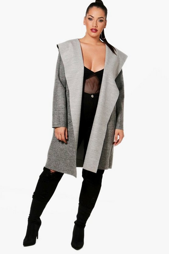 Plus Faith Hooded Wool Look Coat