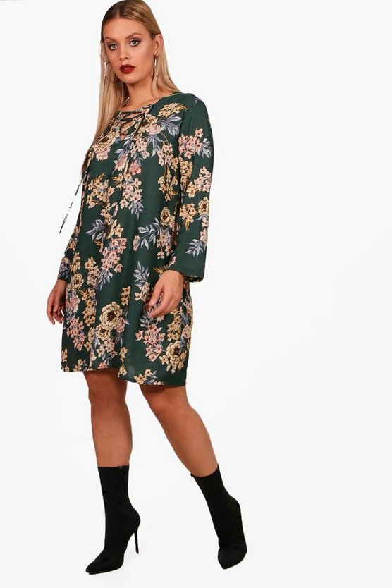 Plus Darcy Floral Tie Up Woven Shift Dress