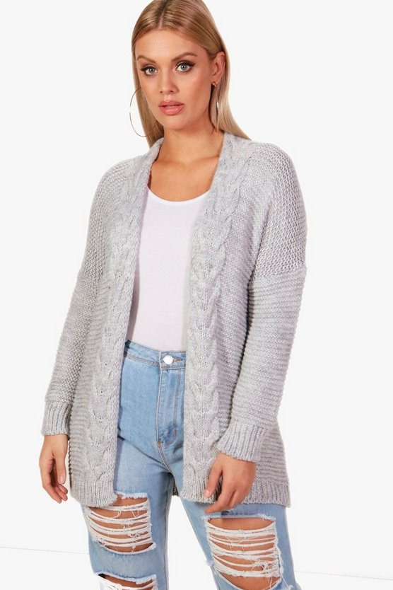 Plus Tiffany Cable Detail Oversized Cardigan