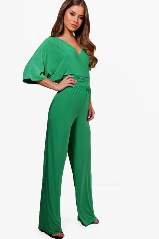 Petite Strap Front Wide Leg Jumpsuit by Boohoo