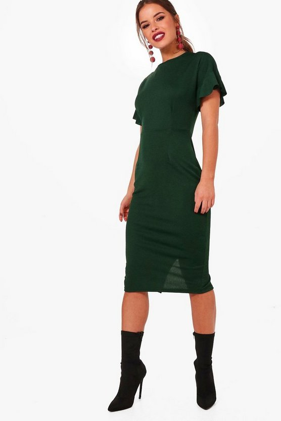 Petite Nora Frill Sleeve Tailored Midi Dress