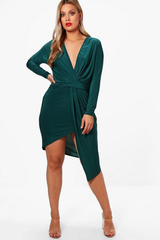 Plus Linda Slinky Long Sleeve Plunge Wrap Dress