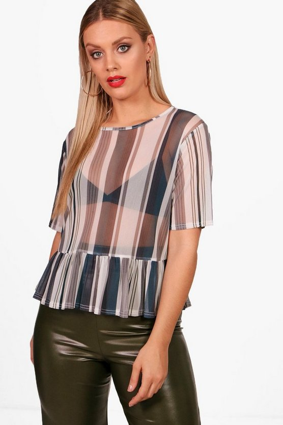Plus Shona Stripe Mesh Peplum Top