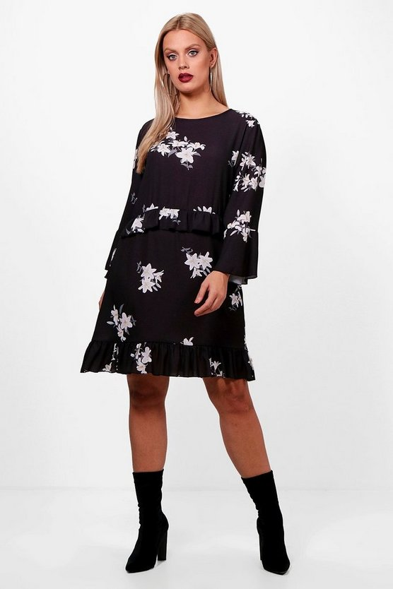 Plus Floral Ruffle Detail Woven Shift Dress