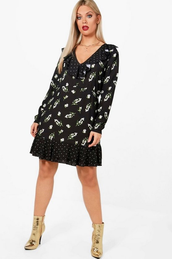 Plus Shelly Woven Polka Dot Floral Tea Dress