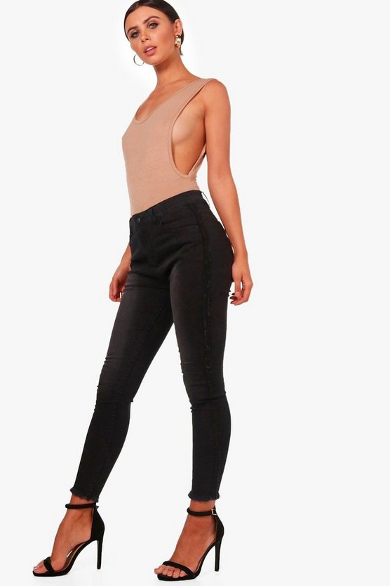 Petite Luci Frayed Side Seam Stretch Skinny Jean