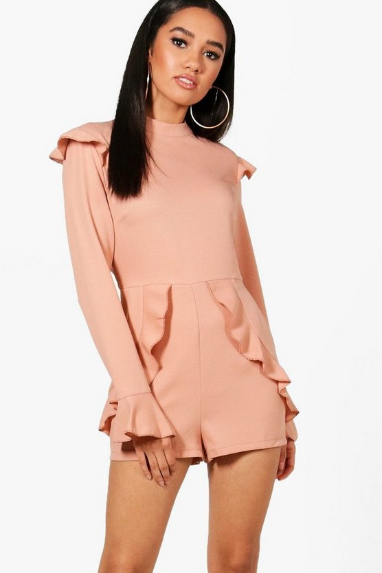 Petite Aby High Neck Ruffle Sleeve Playsuit