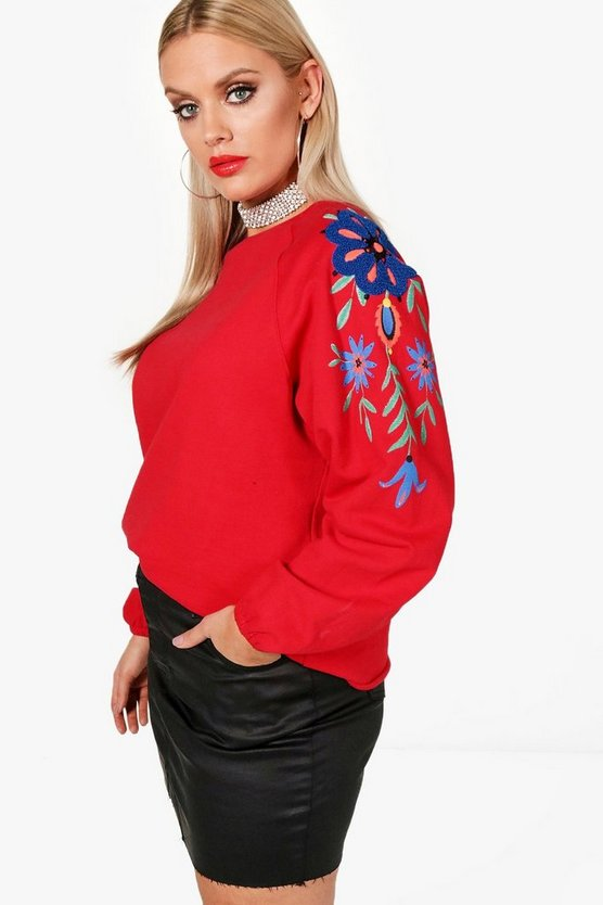 Plus Embroidered Sleeve Sweat
