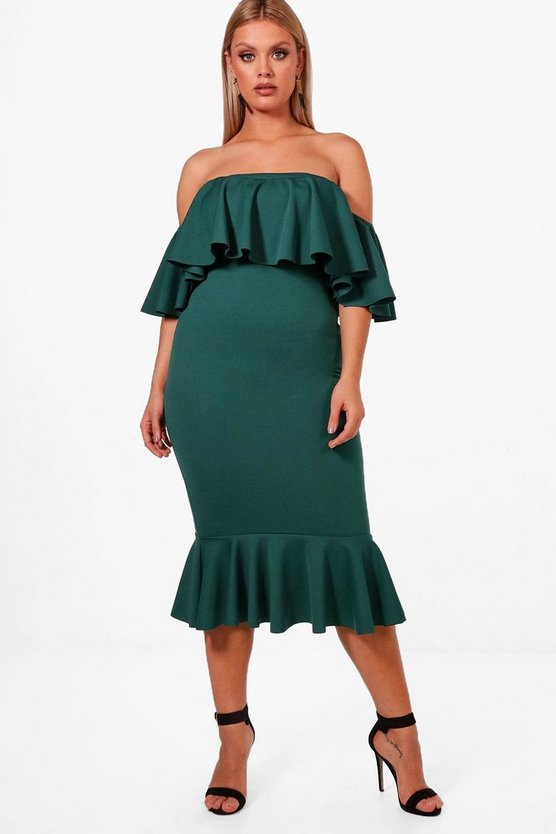 Plus Josie Off Shoulder Frill Midi Dress