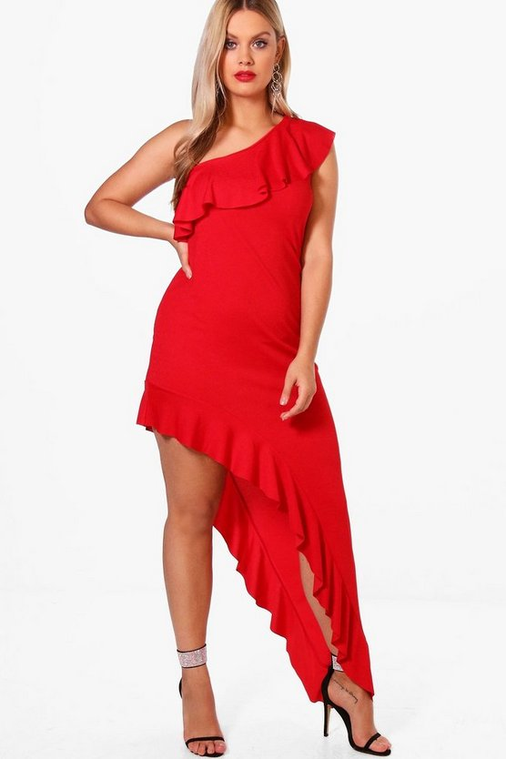 Plus Suzie Ruffle Detail Asymmetric Maxi Dress
