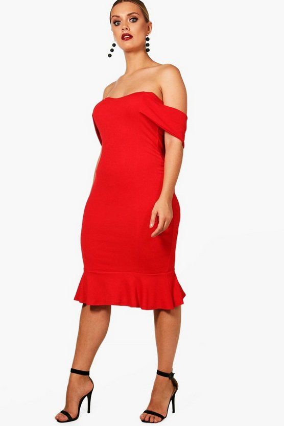 Plus Bandeau Midi Bodycon Dress