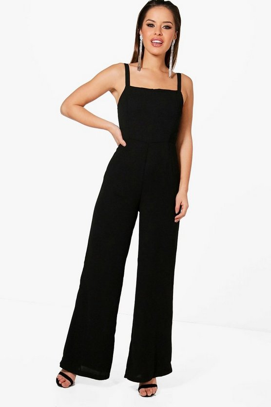 Petite Kristy Square Neck Wide Leg Jumpsuit