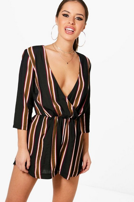 Petite Charlotte Stripe Wrap Over Woven Playsuit