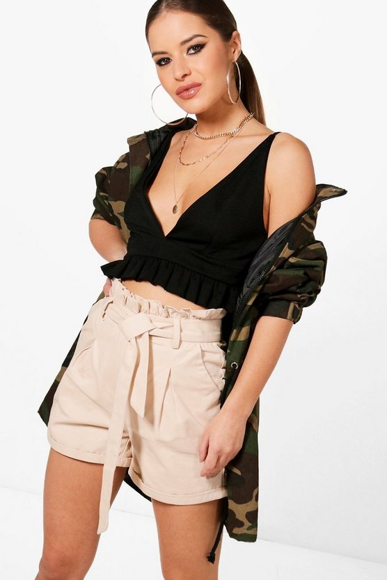 petite-utility-tie-waist-woven-short by boohoo
