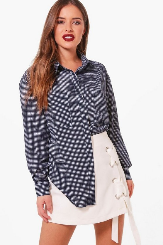 Petite Ashlee Gingham Oversized Shirt
