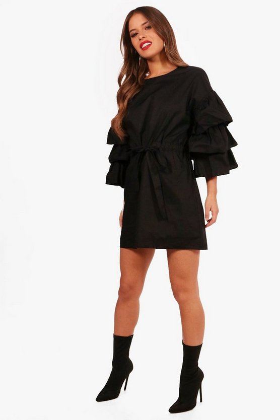 Petite Amy Gathered Waist Ruffle Sleeve Shirt Dress