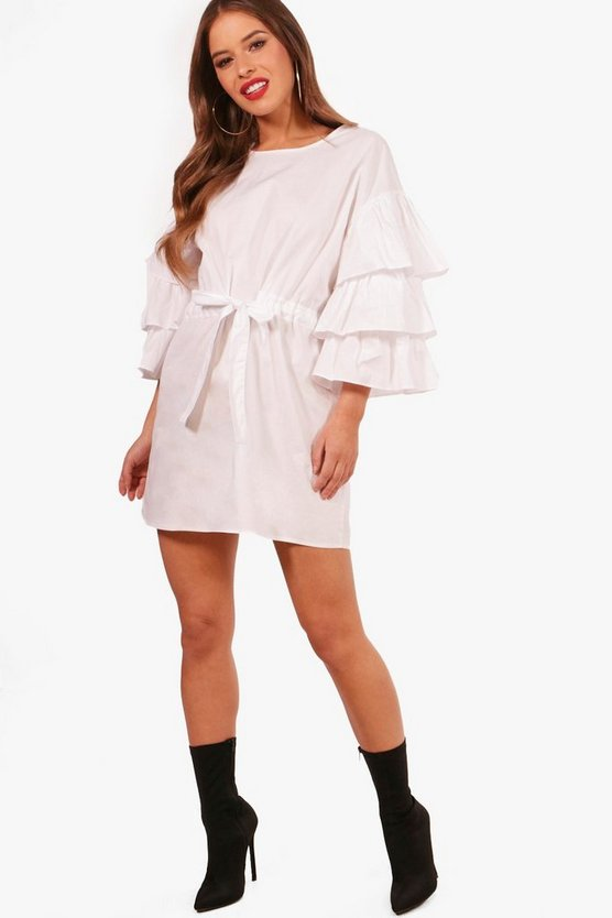 Petite Gathered Waist Ruffle Sleeve Shirt Dress