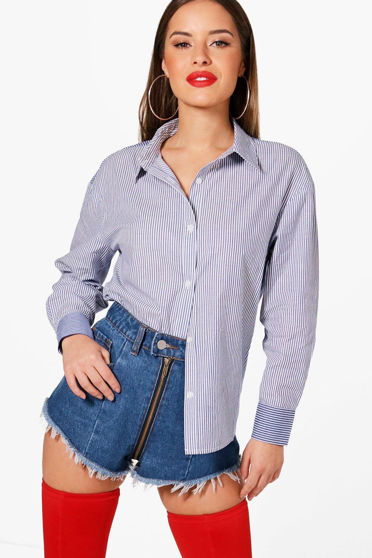 Womens Petite Contrast Stripe Over Sized Shirt - blue - 32, Blue - Boohoo.com