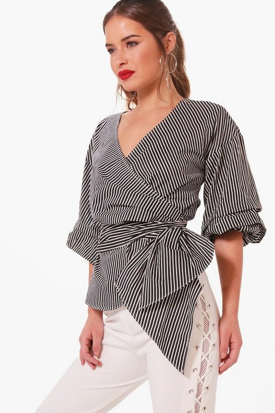 Petite Nelly Volume Sleeve Striped Wrap Blouse