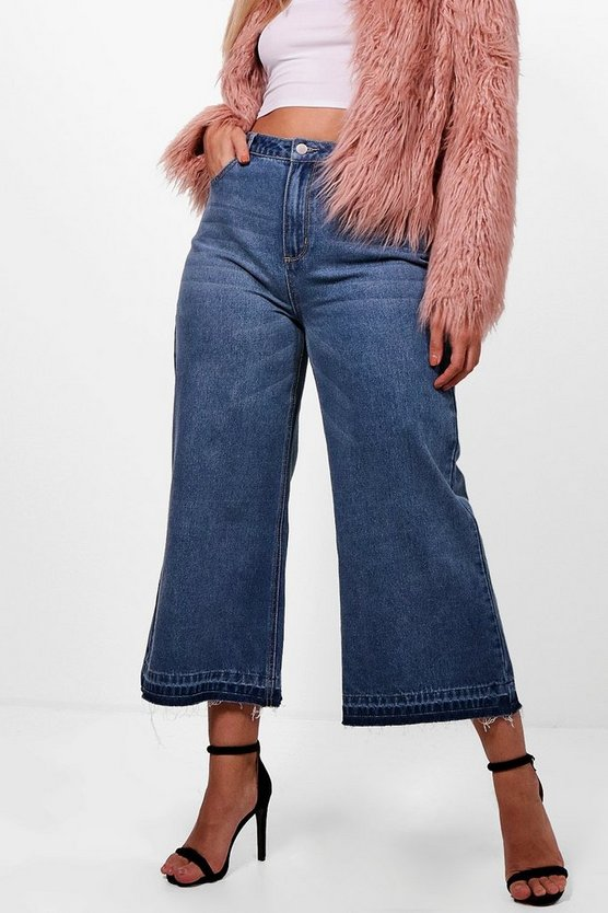 Plus Mid Rise Hem Detail Wide Leg Jeans