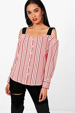 Petite gestreifte Bluse mit ausgeschnittenen Schultern - Boohoo.com