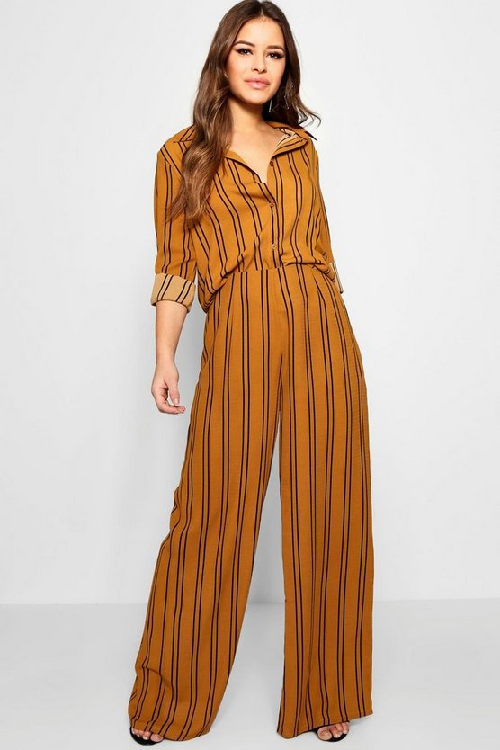 Petite Stripe Chiffon Co-ord Trousers