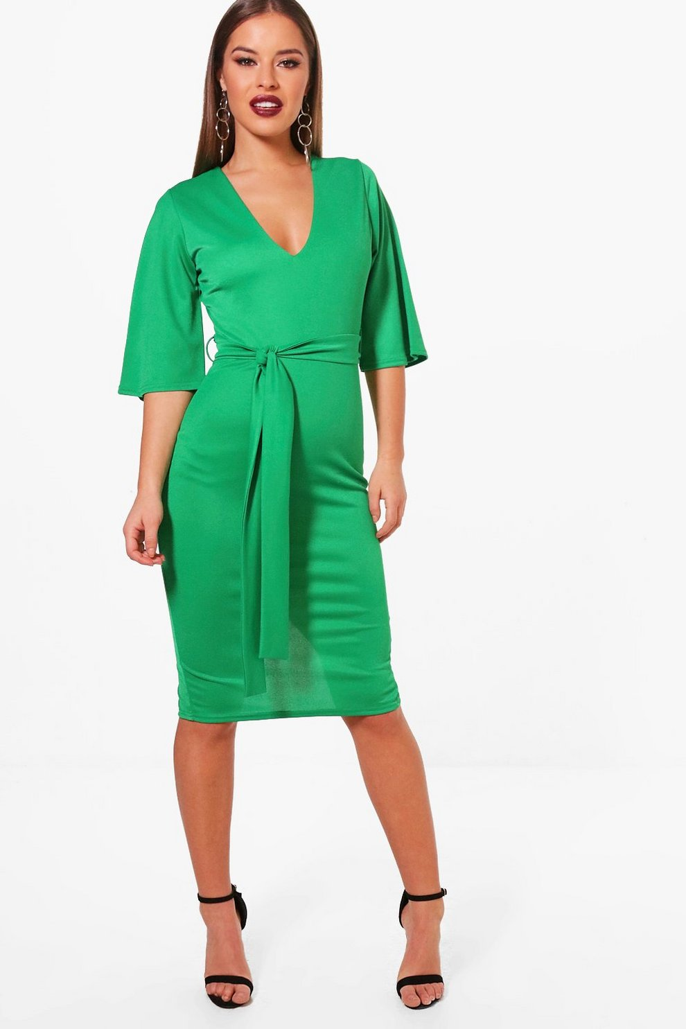 Official Buy Cheap Sneakernews Boohoo Petite Kimono Sleeve Tie Waist Midi Dress GZj2EX