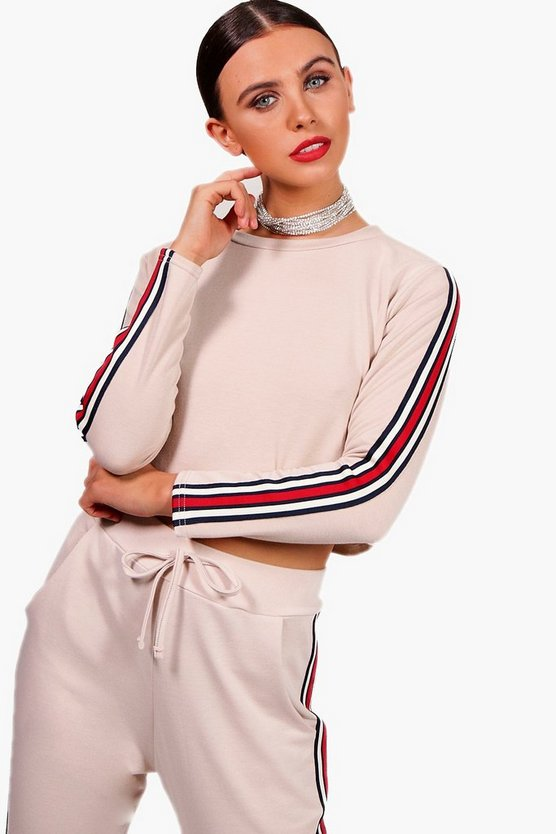 Petite Lola Scoop Neck Sports Trim Co-ord Sweat