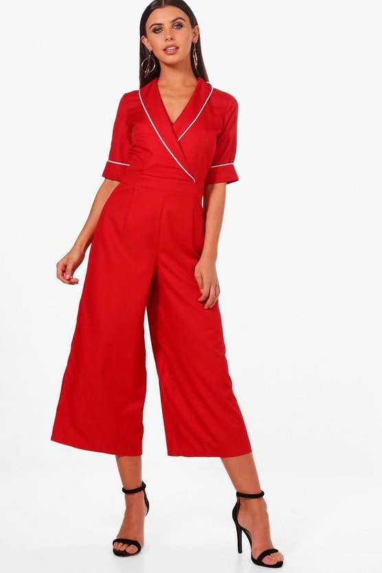 Petite Poppy Woven Tailored Wrap Jumpsuit by Boohoo