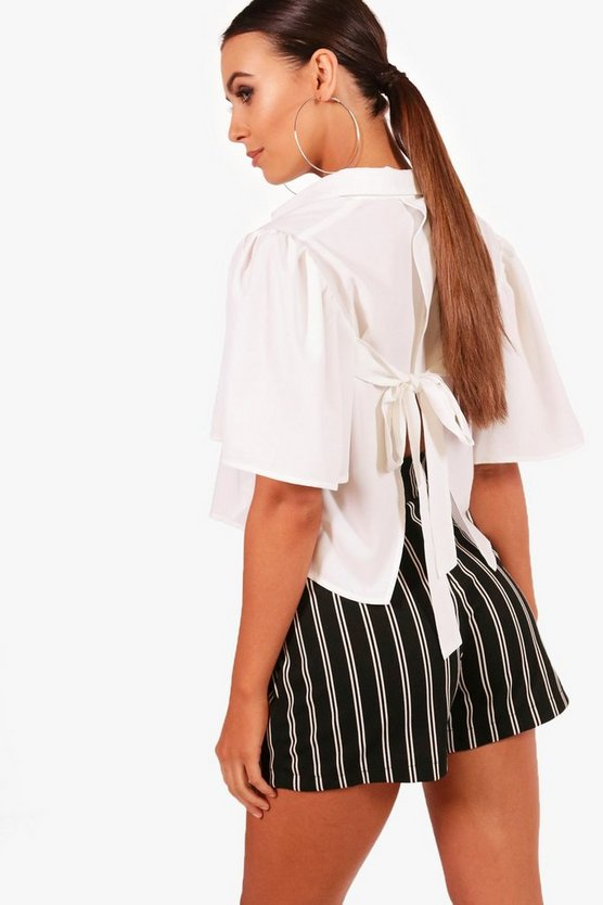 Petite Mia Tie Back Extreme Sleeve Crop Shirt