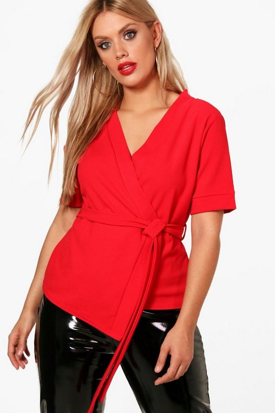 Plus Jennie Short Sleeved Wrap Tie Waist Top