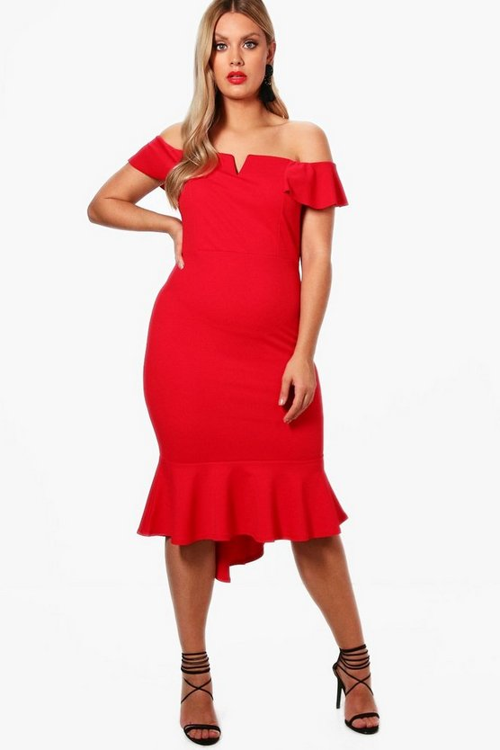 Plus Ruffle Detail Bardot Dress