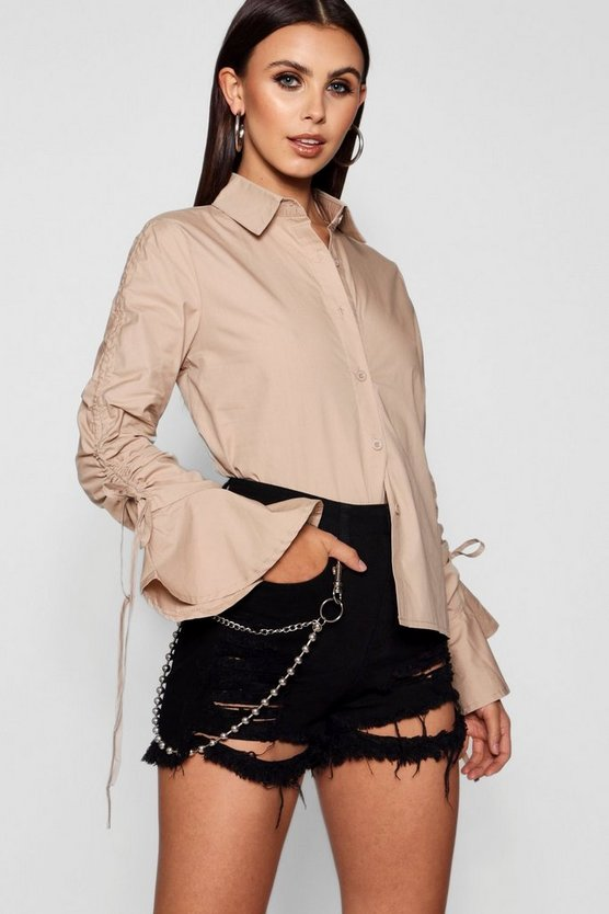 Petite Drawstring Detail Sleeve Shirt