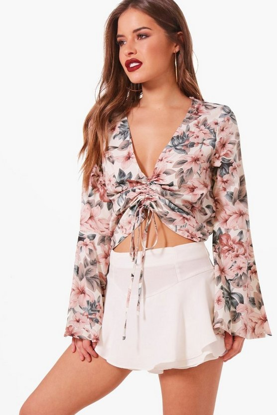 Petite Floral Ruched Front Blouse