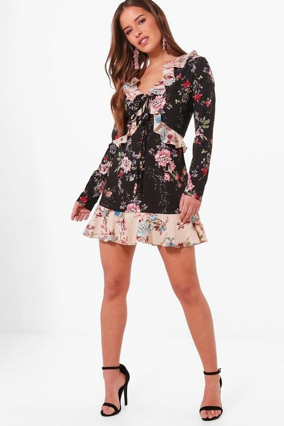 Petite Floral Print Ruffle Detail Tea Dress