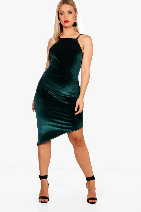 Plus Jenna Asymmetric Velvet Bodycon Dress