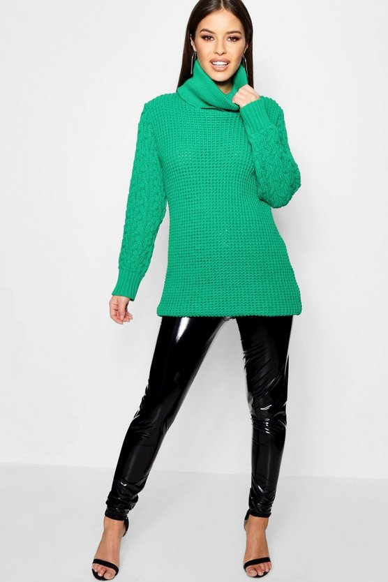Petite Cable Sleeve Turtle Neck Jumper