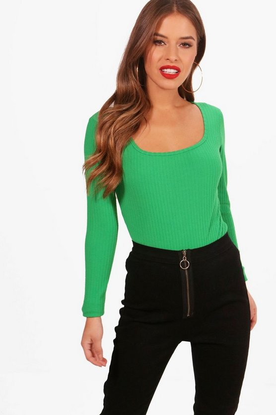 Petite Sophie Square Neck Rib Knitted Bodysuit