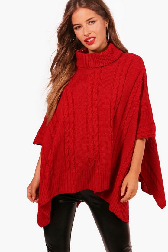 Petite Lucinda Chunky Cable Knitted Poncho