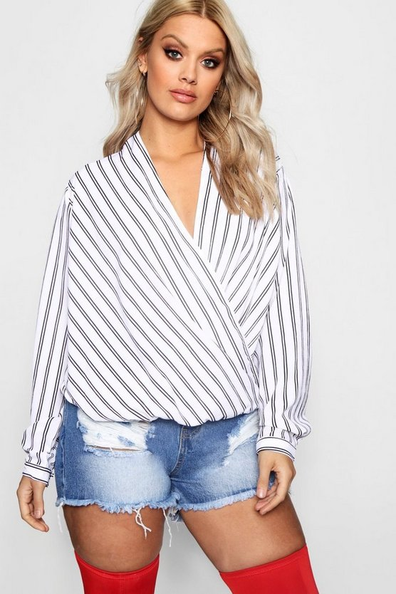 Plus Wrap Stripe Blouse