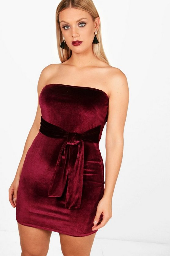Plus Zoe Tie Detail Velvet Dress