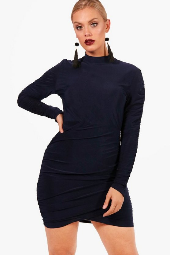 Plus Slinky Rouched Bodycon Dress