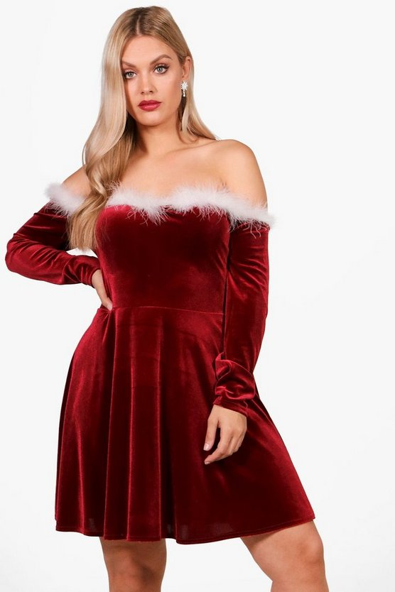 Plus Sara Velvet Christmas Skater Dress
