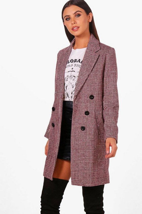 Petite Double Breasted Check Duster Coat