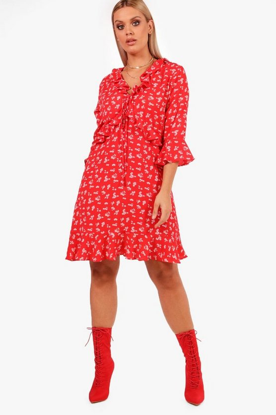 Plus Ditsy Ruffle Cut Out Tea Dress