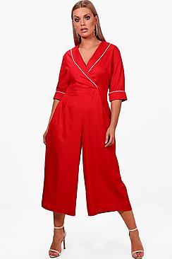 Plus Amber elegant geschnittener Jumpsuit mit Hosenrock - Boohoo.com