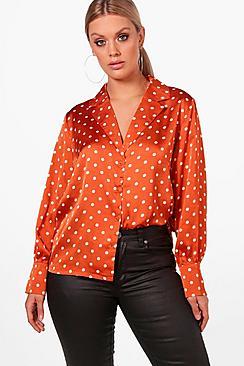 Plus gepunktetes Reverskragen Bluse mit Kragen - Boohoo.com