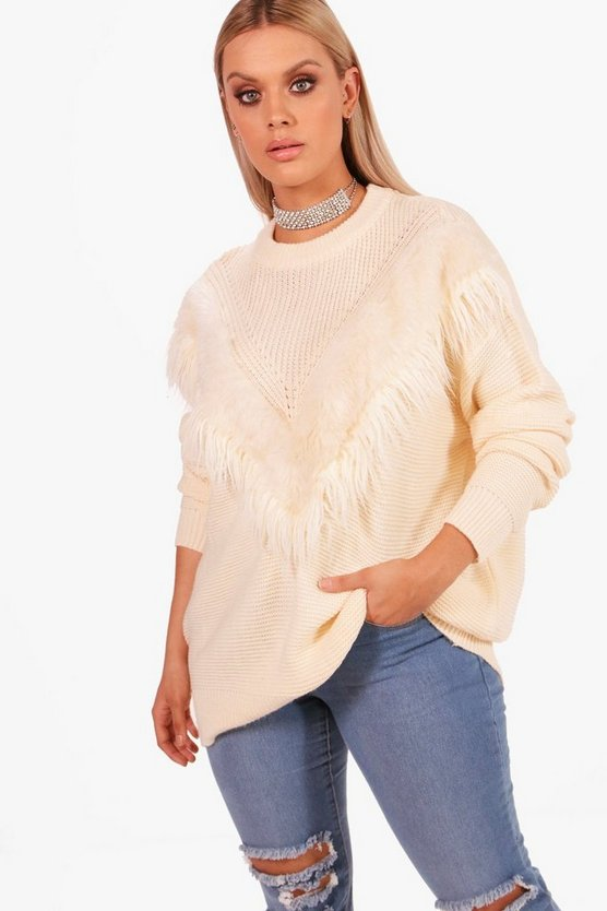 Plus Hari Faux Fur Trim Oversized Jumper