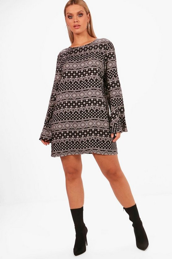 Plus Tapestry Print Shift Dress