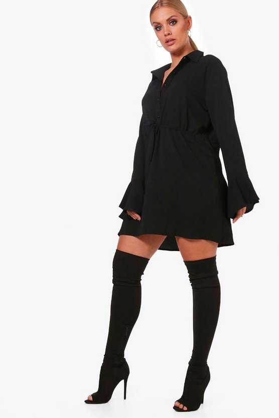 Plus Mia Drawcord Waist Fluted Sleeve Shirt Dress